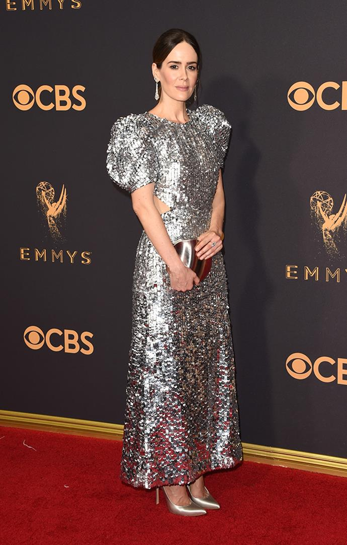 "**Sarah Paulson in Carolina Herrera:**   ""Dreamy sleeves!"" — Jessica Matthews, deputy chief sub editor  ""Sarah joined Tracee Lee Ellis, who I hope to God also makes this list, as a breath of fresh air (the glamour!) on the red carpet today. This woman is a class act through and through.""  — Grace O'Neill, digital fashion editor"
