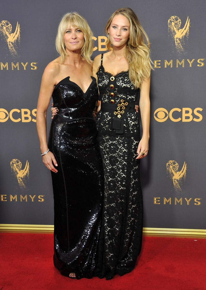 **Robin Wright and Dylan Frances Penn**<br><br>  Robin Wright and her 26-year-old daughter, model and actress Dylan Penn, had a beautiful matching fashion moment on the red carpet at the 2017 Emmys, where Wright was nominated for *House of Cards*.