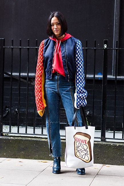 Tiffany Tsu with a Loewe bag<br><br>  Image: Jason Lloyd-Evans