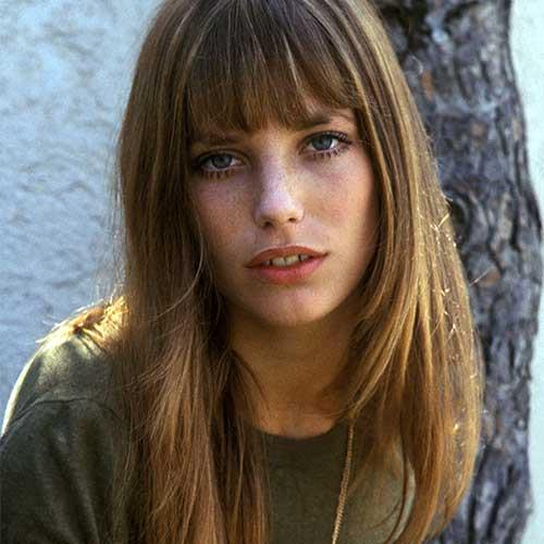 **Jane Birkin** <br><br> **Decade:** 1970s <br><br> First and foremost, Jane Birkin's name is synonymous with her namesake Hermès bag, which was created just for her in 1983. Now that we've got that out of the way, Birkin is also iconic for her wispy bangs.
