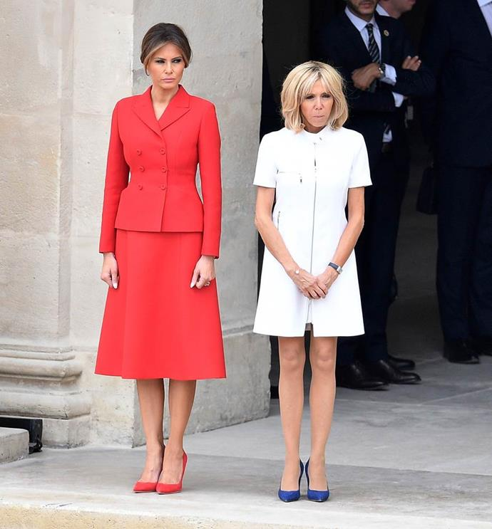 In Dior with French First Lady Brigitte Macron (in Louis Vuitton), July 2017.