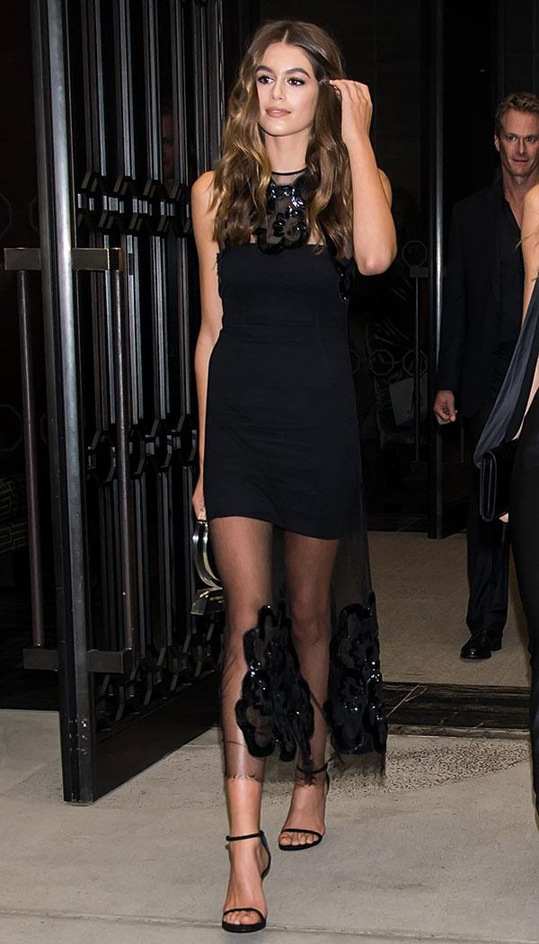The young model reinvented the LBD by adding a sheer overlay with eccentric sequin detailing.