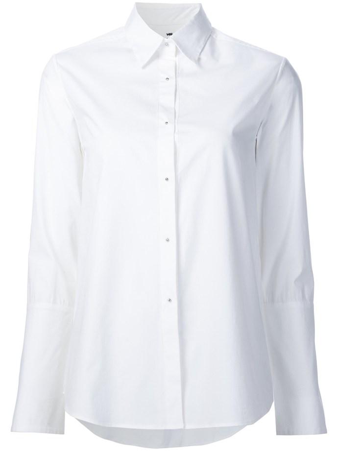 'Husband Shirt', $185, at [Misha Nonoo](https://mishanonoo.com/products/the-husband-shirt). We'll try not to read into that shirt name too much…