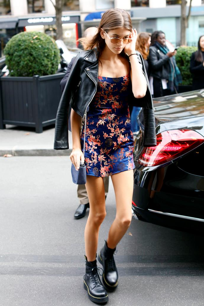 "**Réalisation Par** <br><Br> Kaia Gerber stepped out in Réalisation Par's cult-following 'Shanghai Nights' print dress dress while out and about at Paris fashion week.  <br><br> You can buy the dress for approx. $205 AUD [here](http://realisationpar.com/the-emilie-shanghai-nights/|target=""_blank"")."