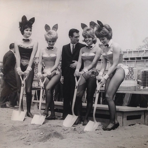Hefner and some Playboy Playmates officially break ground for the Hollywood Playboy Club and the Playboy West office building in the heart of the famous Sunset Strip in 1962. From [Instagram](https://www.instagram.com/p/WFngINGP4O/?taken-by=hughhefner).