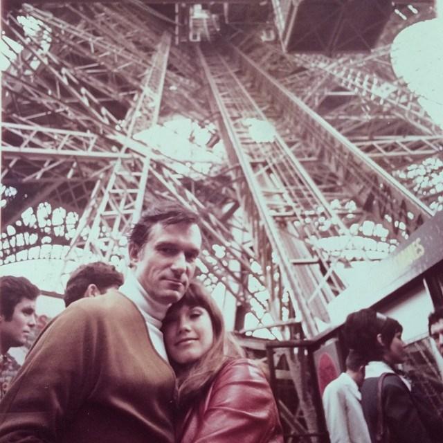 Hefner and Benton visiting the Eiffel Tower in 1969. From [Instagram](https://www.instagram.com/p/iMm7DwGP9W/?taken-by=hughhefner).