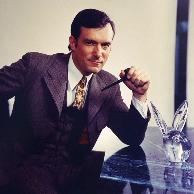 Posing away at the Playboy offices in 1970. From [Instagram](https://www.instagram.com/p/jVNsRyGPzY/?taken-by=hughhefner).