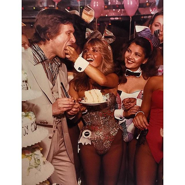 Eating cake with the Playmates in 1978. From [Instagram](https://www.instagram.com/p/y0jwcaGPy1/?taken-by=hughhefner).