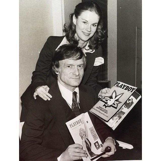 Celebrating Playboy's 25th anniversary with his daughter, Christie Hefner, in 1978. From [Instagram]( https://www.instagram.com/p/0yZ6DTmP8j/?taken-by=hughhefner).