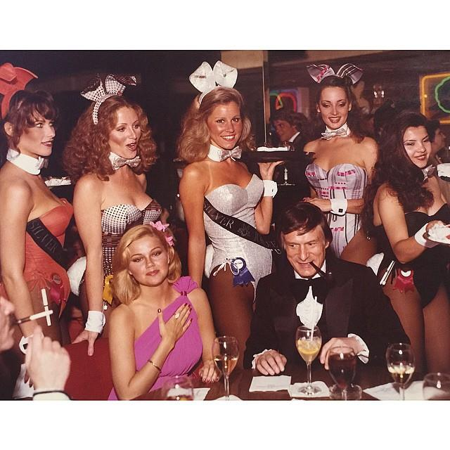 With the bunnies at the L.A. Playboy club in 1979. From [Instagram](https://www.instagram.com/p/16Wxh3GPx0/?taken-by=hughhefner).