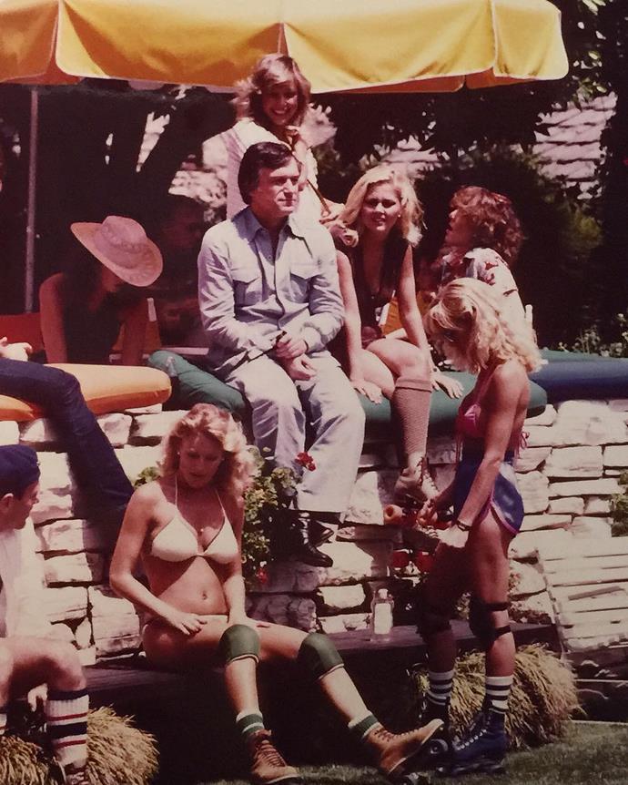 At a roller disco party in 1979. From [Instagram](https://www.instagram.com/p/7RePFQGP6y/?taken-by=hughhefner).