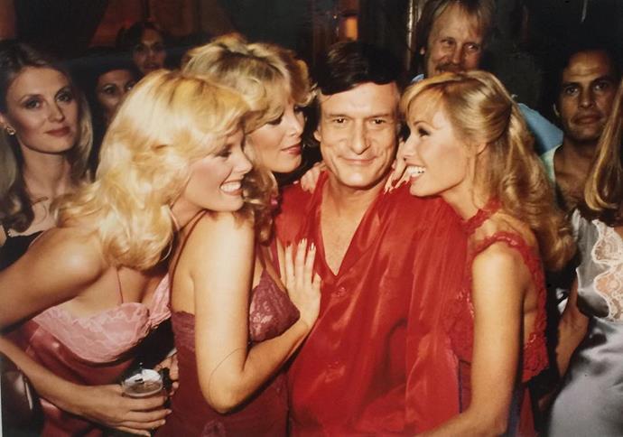 Having fun with the ladies at the Playboy mansion's Village People concert in 1979. From [Instagram](https://www.instagram.com/p/-7CWy5GP8J/?taken-by=hughhefner).