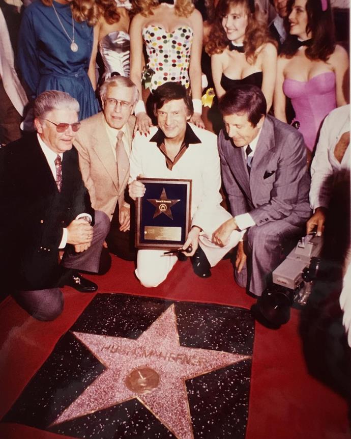 Hefner receiving a star on the Hollywood Walk of Fame. From [Instagram](https://www.instagram.com/p/_x92n3mP1a/?taken-by=hughhefner).