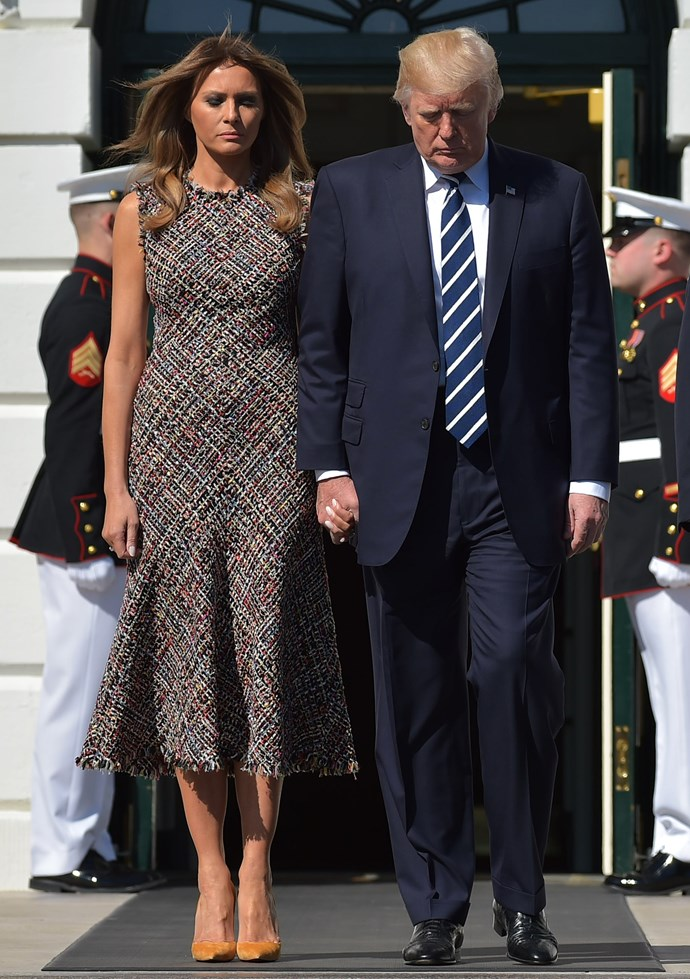 Melania Trump wore Alexander McQueen to meet the Prime Minister of Thailand.