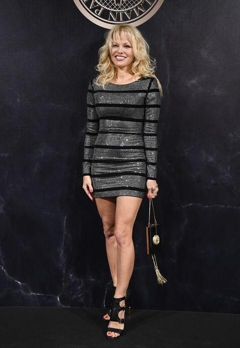 Pamela Anderson at the L'Oreal x Balmain party.