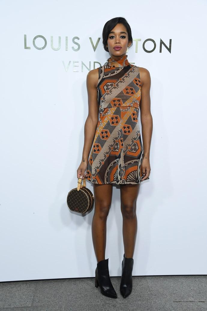 Laura Harrier at the Louis Vuitton Maison Place Vendome opening