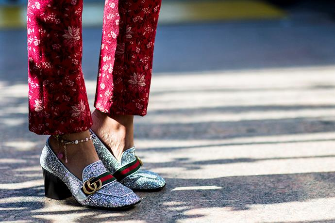 Gucci shoes outside the Gucci show<br><br>  Image: Jason Lloyd-Evans