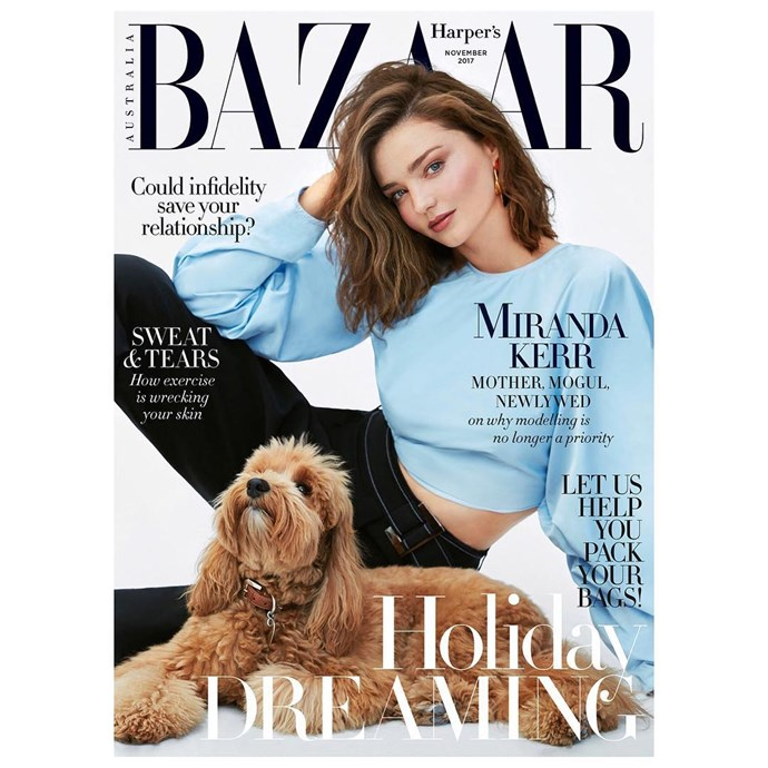 Miranda Kerr covers the November 2017 issue of *Harper's BAZAAR* Australia, with her pup Teddy. Miranda wears Ellery. Shot by Nino Muñoz, styled by Naomi Smith. Hair by Teddy Charles at The Wall Group; Makeup by Lisa Storey at the Wall Group.