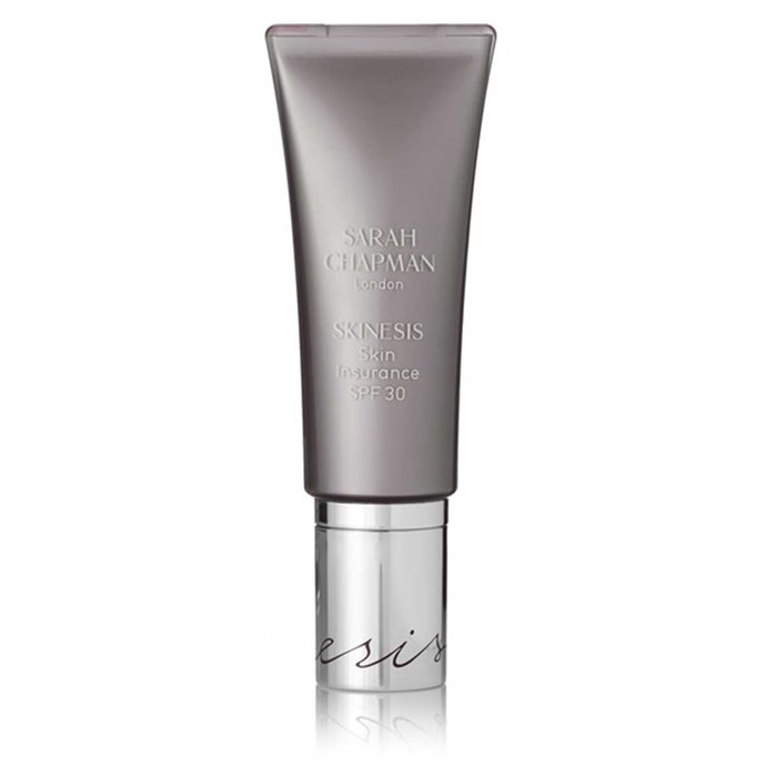 """**Sarah Chapman Skin Insurance SPF 30**, $74.82 at [Net-a-Porter]( https://www.net-a-porter.com/au/en/product/638168/sarah_chapman/skinesis-skin-insurance-spf30--30ml). <br><br> """"On a day when I'm hanging around the house with the kids, I just like to use Sarah Chapman Skin Insurance SPF 30,"""" she says. """"It's basically a tinted moisturiser but with sunscreen."""""""