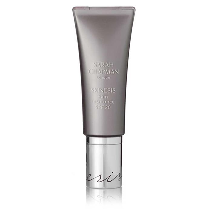 "**Sarah Chapman Skin Insurance SPF 30**, $74.82 at [Net-a-Porter]( https://www.net-a-porter.com/au/en/product/638168/sarah_chapman/skinesis-skin-insurance-spf30--30ml). <br><br> ""On a day when I'm hanging around the house with the kids, I just like to use Sarah Chapman Skin Insurance SPF 30,"" she says. ""It's basically a tinted moisturiser but with sunscreen."""