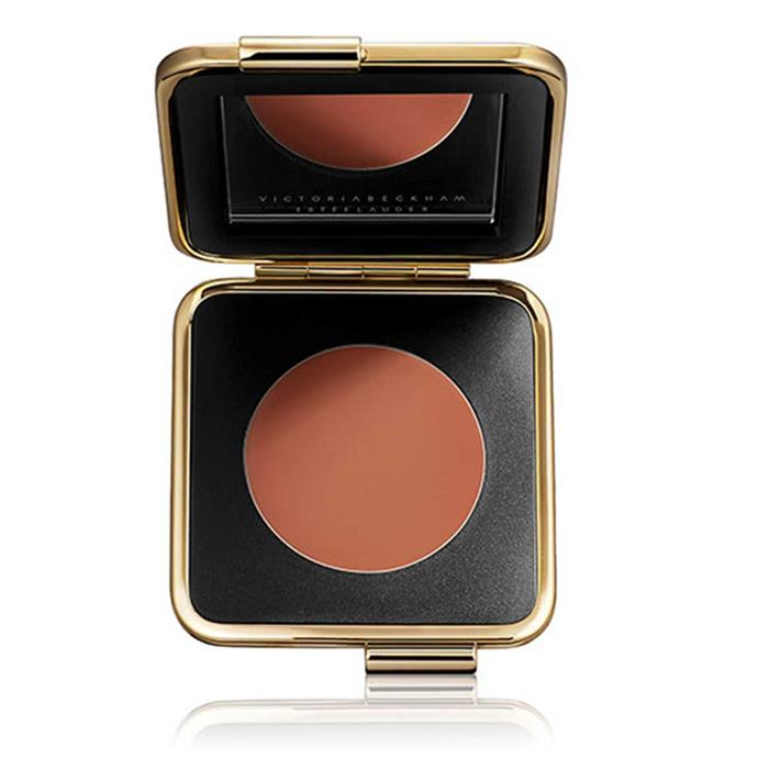 "**Estée Lauder Cheek Crème**, $90 at [Adore Beauty](https://www.adorebeauty.com.au/estee-lauder/estee-lauder-victoria-beckham-cheek-creme-blonde-mink.html).  <br><br> ""Also, sometimes I'll even use my Cheek Crème on my eyes or my lips if I'm in a rush. Quite often I'm running around with the kids, and I want to put my makeup on in the car."""