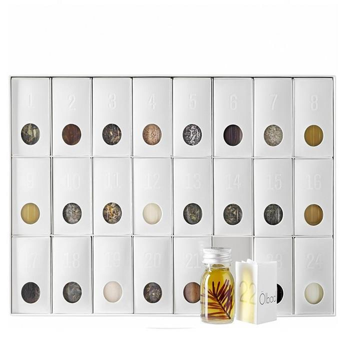 **Susanne Kaufmann Herbal Advent Calendar**, $150 from [Aedes.com](https://www.aedes.com/collections/susanne-kaufmann/products/herbal-advent-calendar?variant=3427915649). <br> <bR> In 24 surprises, Susanne Kaufmann Organic Treats and Hotel Post Bezau shorten the wait for Christmas. The Advent calendar is filled with popular products from Susanne Kaufmann, selected teas and special spices complete with the favourite recipes, provided exclusively, by head chef Markus Wanner.