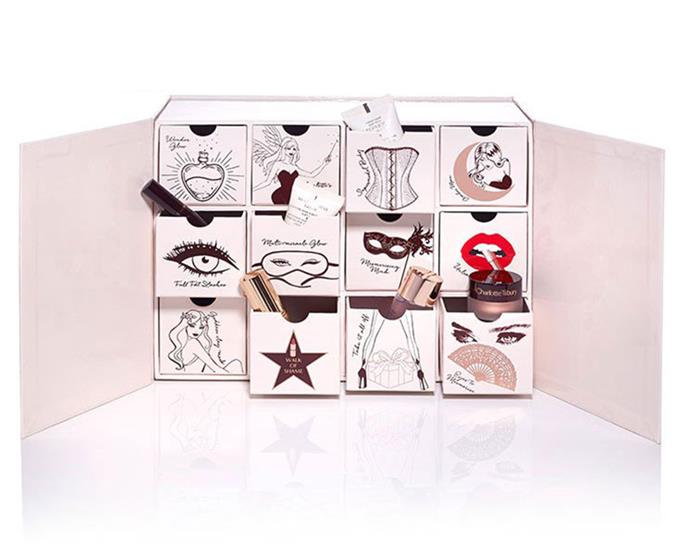 **Charlotte Tilbury Naughty And Nice Magic Box**, $295 from [Charlotte Tilbury](http://www.charlottetilbury.com/au/naughty-and-nice-beauty-advent-calendar.html). <br> <br> The British makeup artist is sharing her beauty secrets via her holiday calendar. Unlike a traditional chocolate advent calendar, this one celebrates the 12 days of Christmas with 12 travel-size beauty products. These include eyeshadow pencils, lipstick, mascara, body shimmer and primers.
