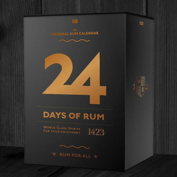 **1423 24 Days Of Rum Calendar**, $POA from [1423](http://www.1423.dk/24-days/). <br> <br> The calendar has a new design for a new year filled with 24 rum experiences to make Christmas just a little bit better. Behind every door there is a 12cl bottle with the best quality rum. The taste and strength varies from rum to rum, and with every window, you will taste both sweet and dry rum varying from 38 per cent to 75 per cent. It's like a little rum school—leaving you fully qualified in rum tasting just in time for Christmas.