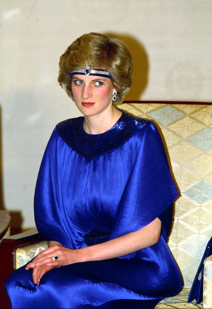 **She got crafty with tiaras**<br><br> Although she most likely had access to the royal jewel vault, Princess Diana only ever wore two tiaras in her life—the Cambridge Lover's Knot, and the Spencer Tiara. For other occasions, Diana occasionally repurposed necklaces and chokers to wear as tiaras, like the sapphire choker she is wearing here.