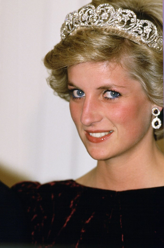 **The way she blended her tiaras into her hair**<br><br> Instead of leaving her tiaras bare, Diana would have the base of them wrapped in a coloured velvet that matched her hair—she had lighter colours and darker colours custom-matched—so that they would blend it seamlessly.
