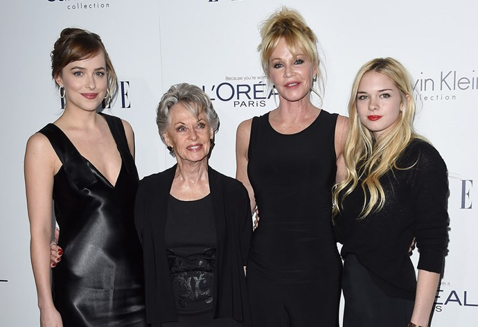 Tippi Hedren and her daughter, Melanie Griffiths, and granddaughters Dakota Johnson and Stella Banderas