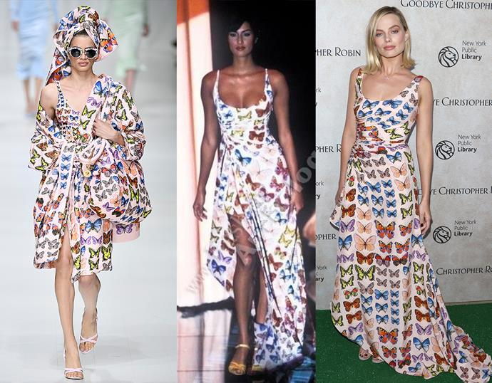 Margot Robbie, in Versus Versace, spring/summer 1995 (remade by Donatella Versace for the spring/summer 2018 tribute collection, far left).