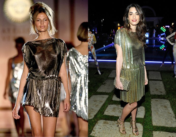 Amal Clooney, in Versace spring/summer 1994.<br><br> Left image courtesy of *[vogue.it](http://www.vogue.it/)*.