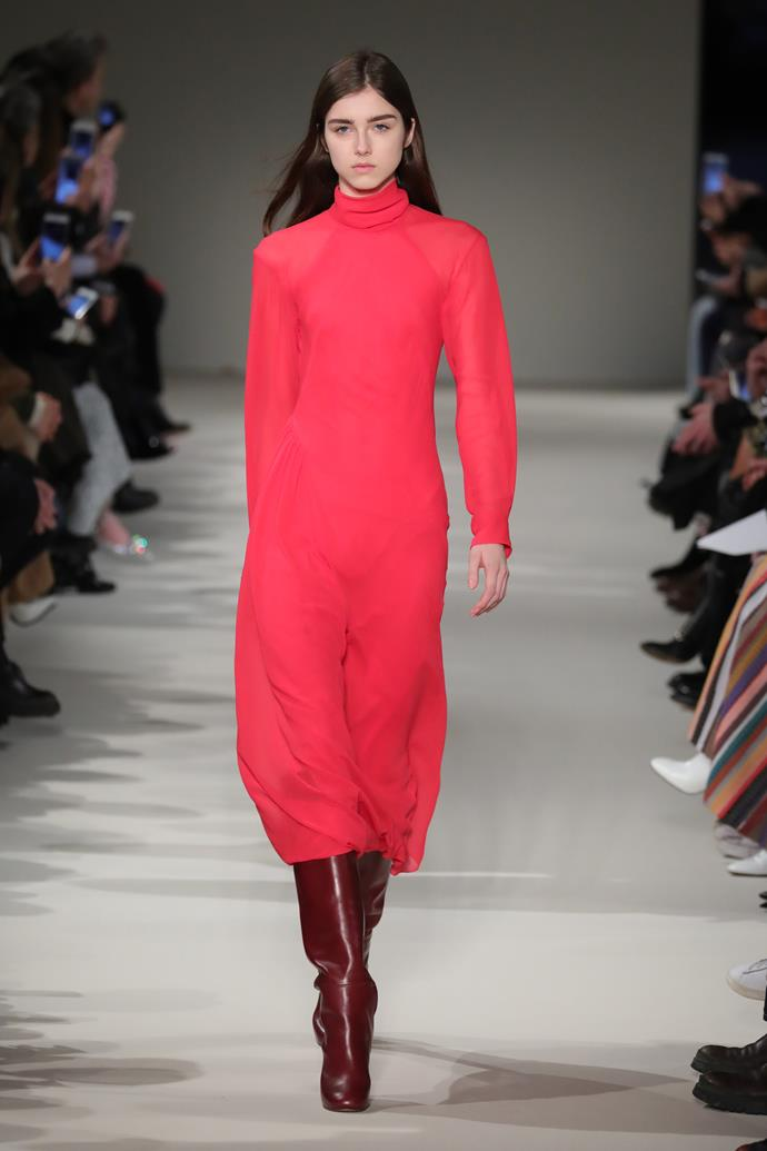 First up was this raspberry dress/burgundy boots combination, which debuted on the runway at VB's autumn winter '17 show last season.