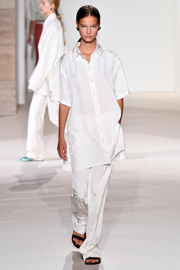 This all-white look debuted at the Victoria Beckham spring summer '18 show last month.