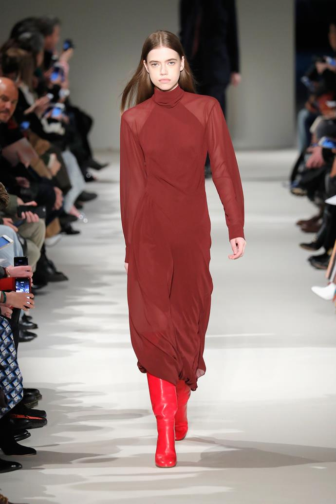 Day two—VB switches colourways, wearing a burgundy dress with raspberry boots, shown at the AW '17 show.