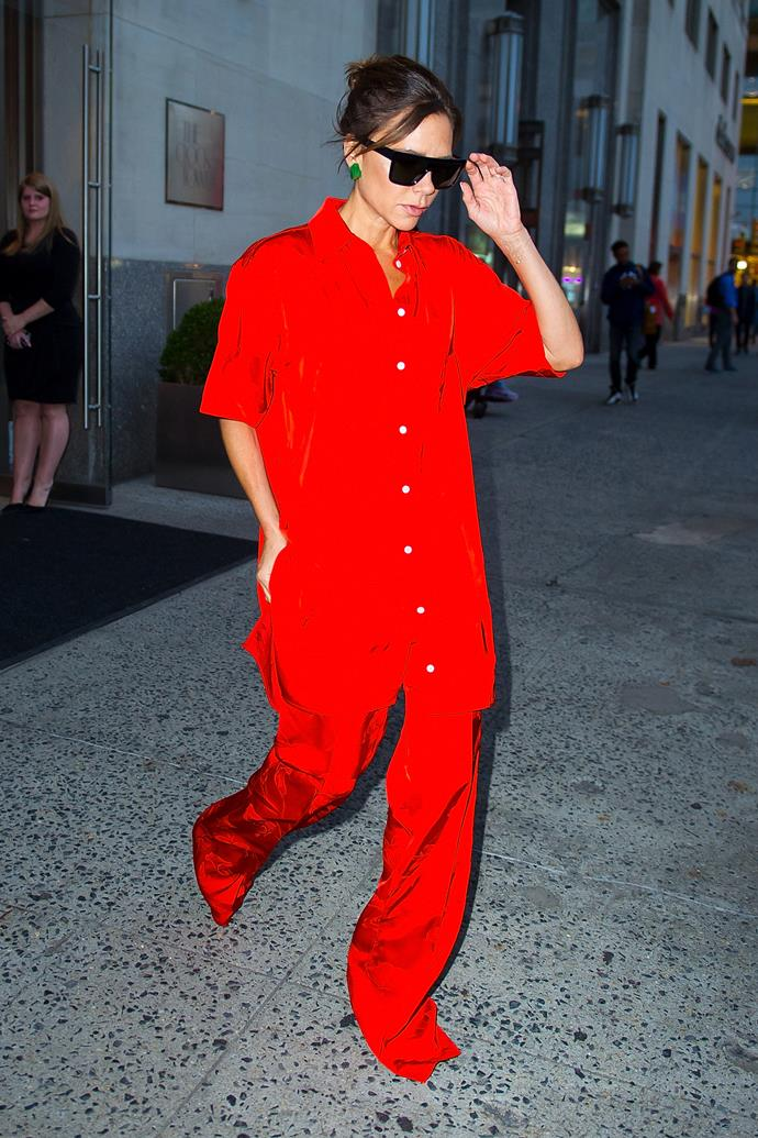 Victoria changed things up by wearing a bright red incarnation.
