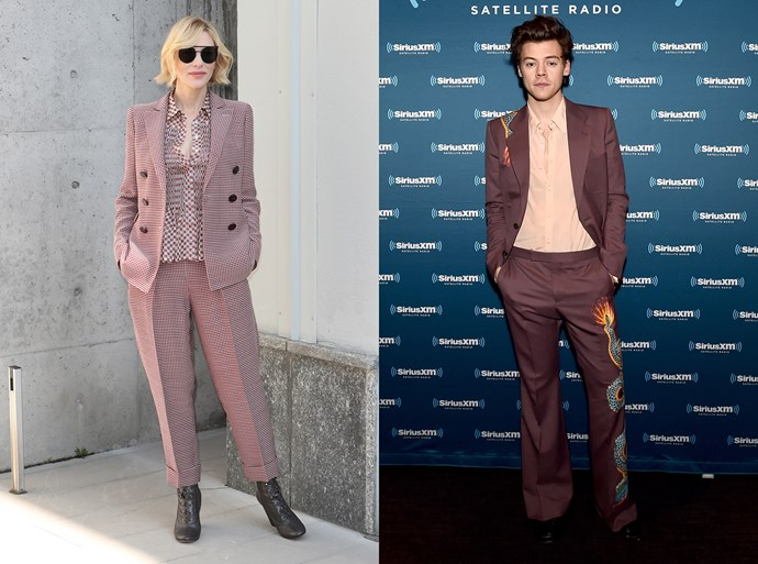 The muted mauve and maroon suit.