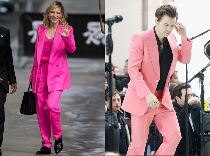 The bold pink suit.