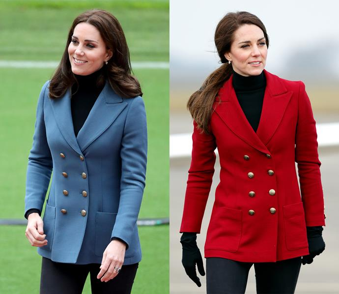 Kate was clearly such a fan of this rayon/wood blend double-breasted blazer by Philosophy di Lorenzo Serafini that she has it in two colours! The Duchess wore the red version (officially named 'claret') in February, and the blue version to an event in October.