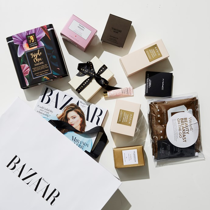The goodie bag!<br><br>  Including Aerin beauty, Super Elixir, Tom Ford, Glasshouse, Koko Black Chocolate, Byron Bay Cookies, Mac Cosmetics and Goldwell Australia.