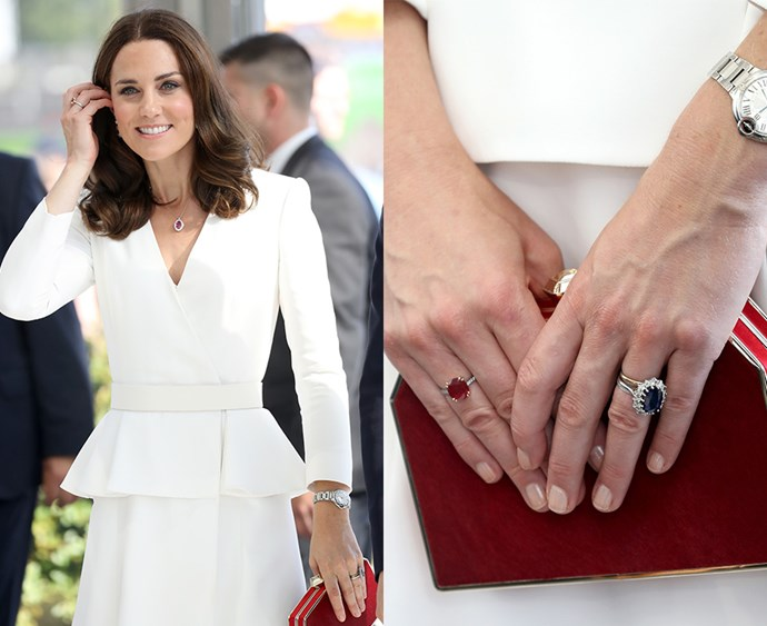 **Thou shalt not wear bright nail polish** Over the years, Kate has been spotted wearing a light pink nail varnish occasionally, but—most of the time—the Duchess does not wear anything on her nails at all. And she never wears bright or outlandish colours, due to the Queen's preference for 'natural-looking nails' among the ladies of the upper royal echelon. The same goes for lipstick, which is why you've never seen Kate wearing a bright lip.