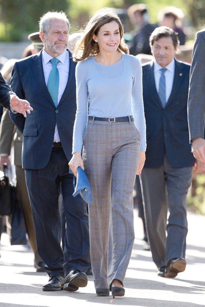 """In a Hugo Boss jumper and Massimo Dutti wide-legged trousers, which retail for approx. $125 [here](http://fave.co/2yIiHzn