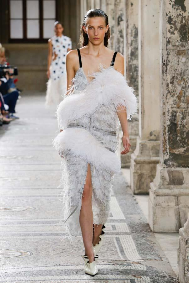 **Feathers**   An abundance of feathers, glitter and rainbow hues heralded fashion's return to unaplogetic maximalism this season. From the Hollywood glamour-esque details at Proenza Schouler and Saint Laurent to the subtle iterations at Céline, feathers proved a firm favourite on the runway.   Proenza Schouler spring summer '18