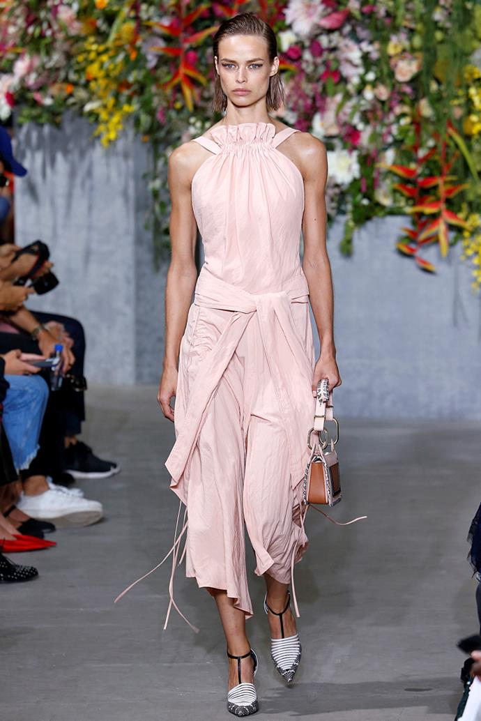 **Pink** <br><br> Millenial Pink refuses to die, but ss18 welcomed a larger scope of pinks to the runway—notably in brighter, cooler renditions. <br><br> Jason Wu spring summer '18