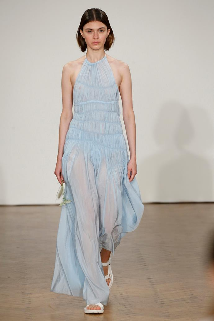 """**Sky Blue** <br><br> """"Serenity"""", the lesser known counterpart to Pantone's 2016 colour of the year """"Rose Quartz"""" (what we came to define as 'Millenial Pink'), saw increased visibility on the ss18 runways, predominantly in sheer iterations.  <br><br> Pringle of Scotland spring summer '18"""