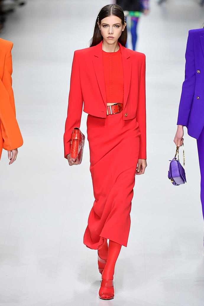 **Bright Red** <br><br> Bright, punchy and sexy, this vibrant red was adopted by a variety of designers, predominantly in head-to-toe looks.  <br><br> Versace spring summer '18