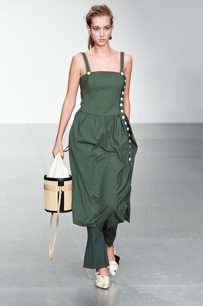 **Greenery** <br><br> While there was a definite preference for chalkier, muted greens over more saturated options—overall, a diverse range of of shades were shown, which is not surprising considering it's Pantone's colour of the year.  <br><br> Eudon Choi spring summer '18