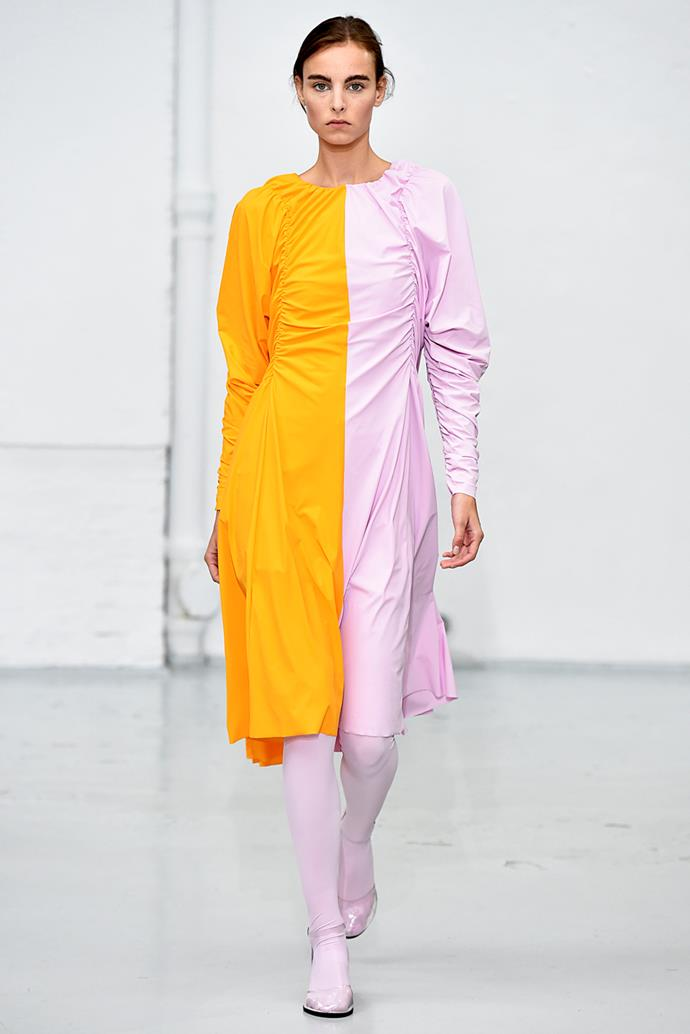 **Bi-Colour** <br><br> No doubt one of the more adventurous colour trends for the season, bi-colour looks appeared in a surprising number of collections, but were shown most frequently by emerging designers. If you consider yourself an early adopter, take note. <br><br> Paskal spring summer '18