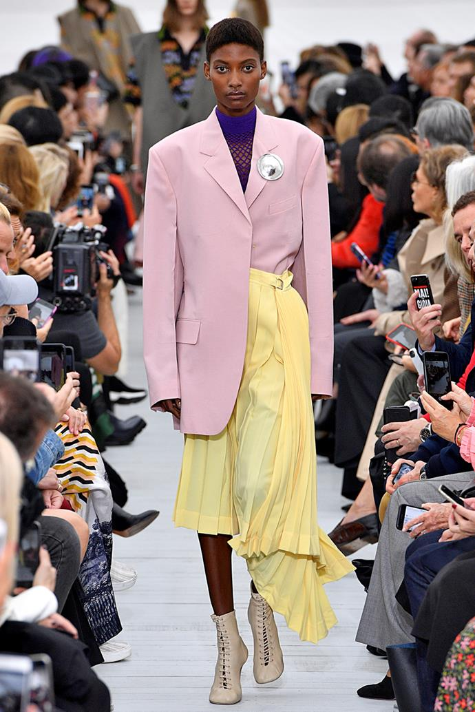 **Sorbet Ensembles** <br><br> Lilac and sky blue, millenial pink paired with gen-z yellow—entire looks comprised of sorbet tones were a popular choice, and one we'll be recreating on rotation in the coming season.  <br><br> Celine spring summer '18